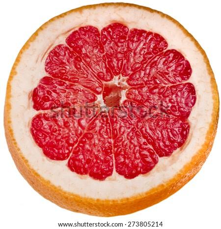 Half citrus grapefruit slice detail close up isolated on white background - stock photo