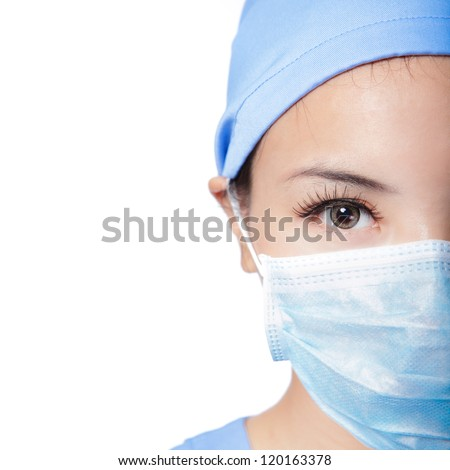 Half Close up portrait of serious woman nurse or doctor face in surgical mask isolated on white background, model is a asian female - stock photo
