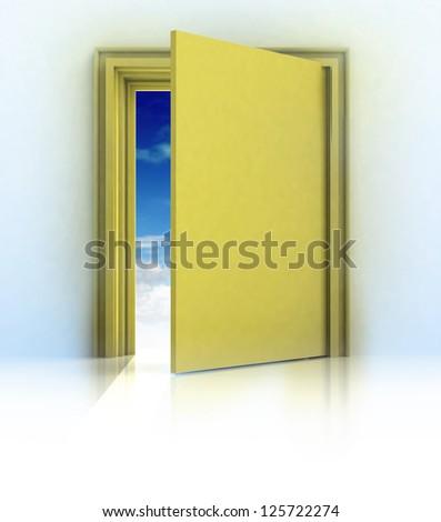 half closed door in golden frame door with blue sky illustration - stock photo