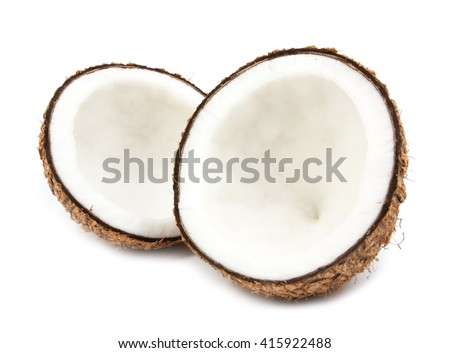 half coconut isolated on white background - stock photo