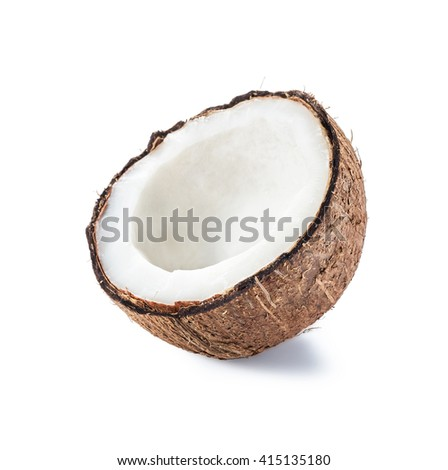 Half coconut isolated on white background. Clipping Path - stock photo