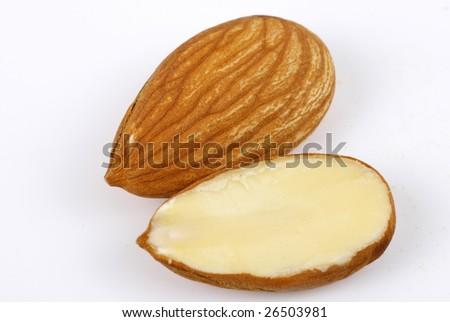 Half cut Almond  with full Almond - stock photo