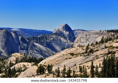 Half-dome as seen form Olmsted point in Yosemite National Park, California, USA - stock photo