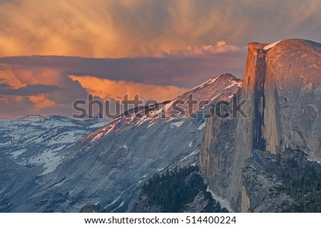Half Dome at sunset from Glacier Point, Yosemite National Park, California, USA