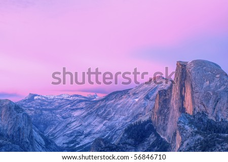 Half Dome at twilight from Glacier Point, Yosemite National Park, California, USA - stock photo