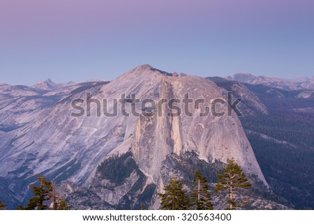 Half Dome from Sentinel Dome, Dusk, Yosemite National Park, CA - stock photo