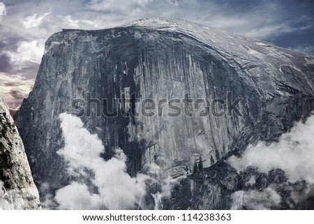 Half Dome is a Granite Dome in Yosemite National Park, California, USA. Sierra Mountains. Nature Photography Collection