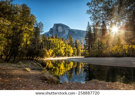 Half dome mountain in yosemite national park in california - stock photo