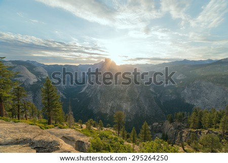 Half Dome peak in the first morning light. Sierra Nevada mountains, Yosemite National Park, California