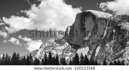 Half Dome Peak in Yosemite National Park California USA. Black and White - stock photo