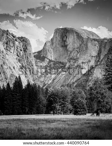 Half Dome Peak Yosemite National Park,  California USA.  Black and white landscape photograph. - stock photo