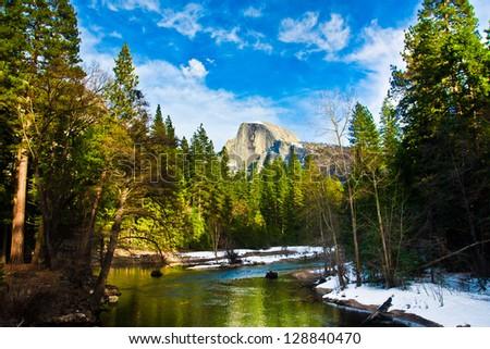 Half Dome Rock , the Landmark of Yosemite National Park,California - stock photo