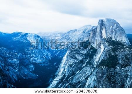 Half Dome Rock Yosemite National Park at dusk. - stock photo