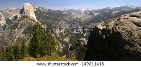 Half Dome, Vernal Fall, Nevada Fall from Glacier Point - Yosemite National Park - California - stock photo