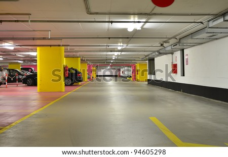 Half empty underground garage or parking