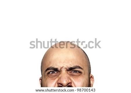 half face angry expression looking on white background