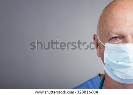 Half Face Doctor/Nurse With Surgical Mask - stock photo