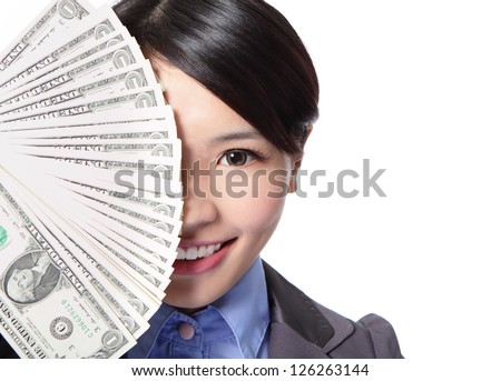 half face of a beautiful young business woman and money cover her face isolated on white background, asian beauty model - stock photo