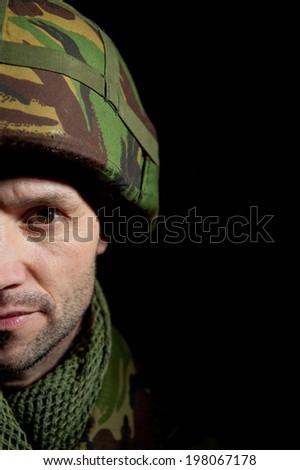 Half Face Portrait Of British Soldier - stock photo