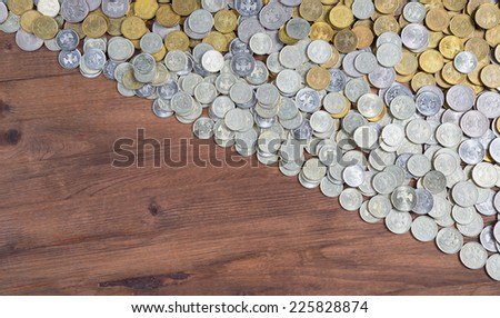 half frame background with mixed coins. Russian rubles - stock photo