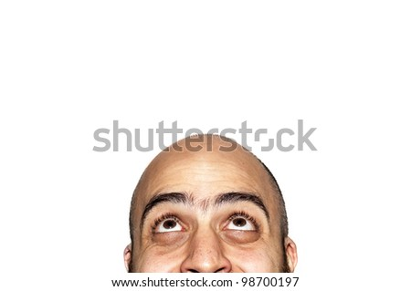 half funny face expression looking on white background
