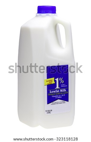 Half Gallon of cow milk with 1% fat on a white background. - stock photo