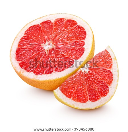 Half grapefruit citrus fruit with slice isolated on white with clipping path - stock photo