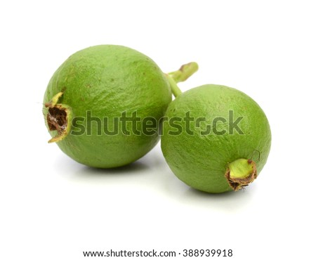 half green guava (delicious tropical fruit) isolated on white