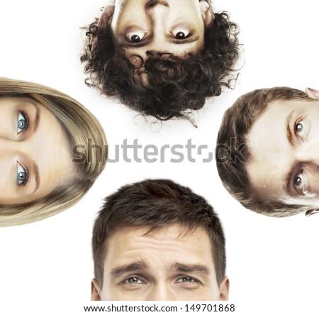half heads social people - stock photo