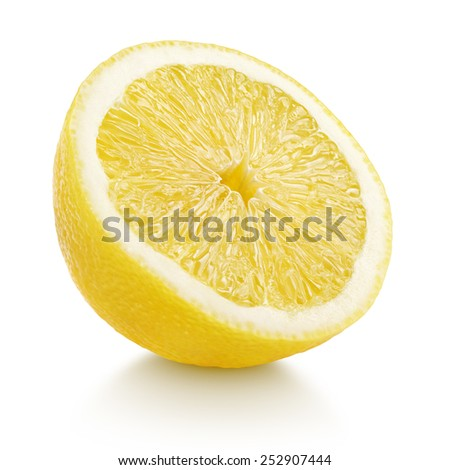 Half lemon citrus fruit isolated on white with clipping path