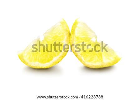 half lemon, fresh, isolated on white background with shadow - stock photo