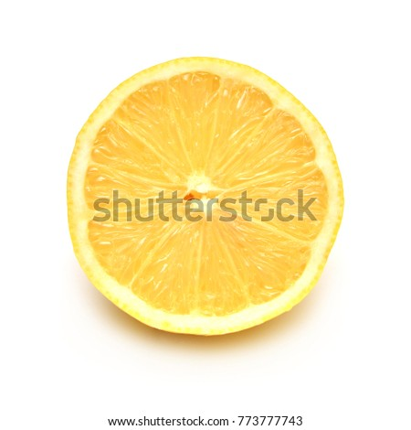 Half lemon isolated on white background. Tropical fruit. Flat lay, top view