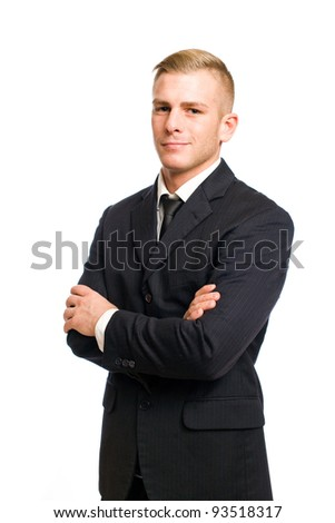Half length portrait of a very confident young businessman. - stock photo
