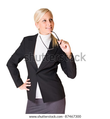 Half length portrait of attractive young business woman isolated on white background. - stock photo