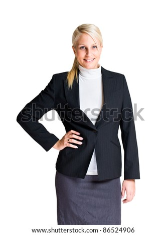 Half length portrait of attractive young businesswoman isolated on white. - stock photo