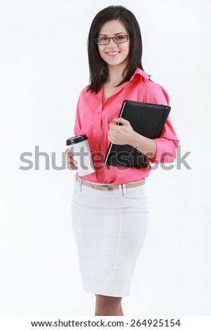 Half-length portrait of business lady with folder wearing black frame glasses, isolated on white