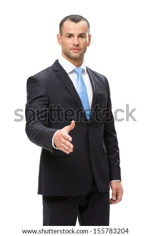 Half-length portrait of business man handshake gesturing, isolated. Concept of leadership and success - stock photo
