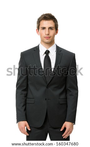 Half-length portrait of business man, isolated on white. Concept of leadership and success