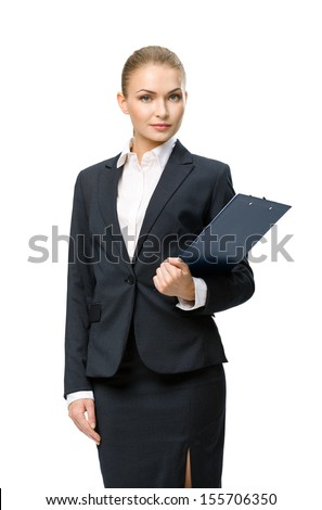 Half-length portrait of business woman handing black folder, isolated on white. Concept of leadership and success - stock photo