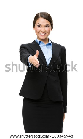 Half-length portrait of business woman handshake gesturing, isolated on white. Concept of leadership and cooperation - stock photo
