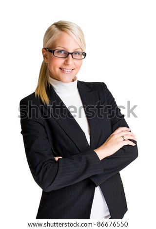 Half length portrait of cheerful young businesswoman isolated on white background. - stock photo