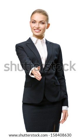 Half-length portrait of handshake gesturing business woman, isolated on white. Concept of leadership and success