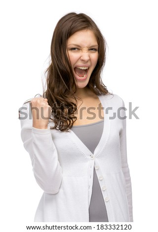 Half-length portrait of happy lady fists gesturing, isolated on white. Concept of success and victory - stock photo