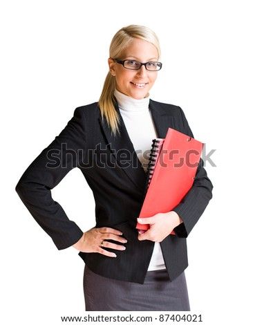Half length portrait of happy young business woman isolated on white background. - stock photo