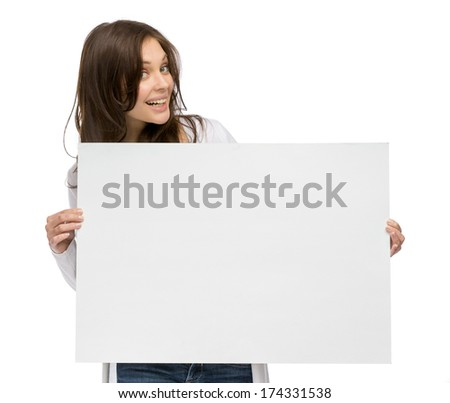 Half-length portrait of smiley girl holding copyspace, isolated on white - stock photo