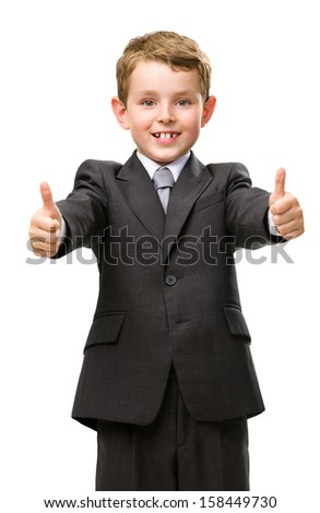 Half-length portrait of thumbing up little business man, isolated on white. Concept of leadership and success