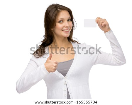 Half-length portrait of woman handing business card and thumbing up, isolated on white - stock photo