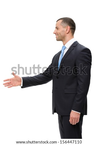 Half-length profile of business man handshake gesturing, isolated on white. Concept of leadership and success - stock photo