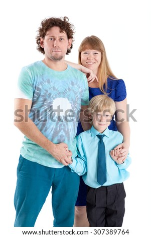 Half-length, three people family with father, mother and son, isolated on white background - stock photo