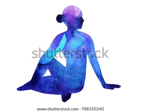 Yoga painting stock images royalty free images vectors for Half lord of the fishes